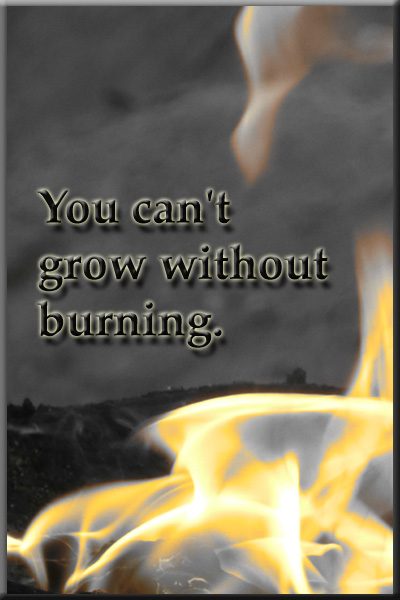 You can't grow without burning. Quote
