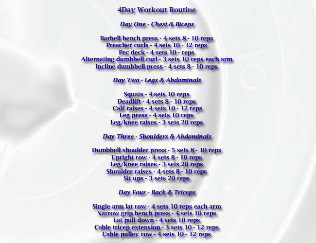 4 day workout routine for beginners.
